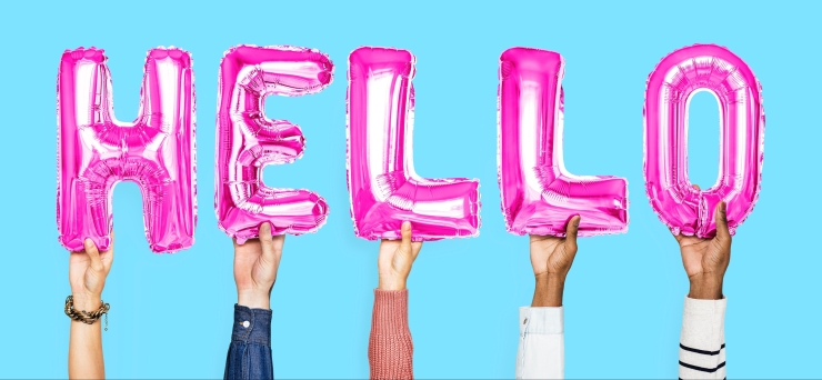 Pink balloons spelling HELLO