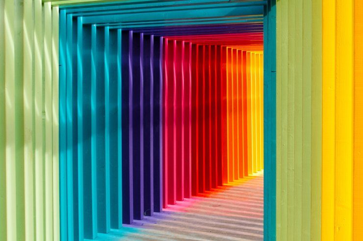 Rainbow coloured frames leading away