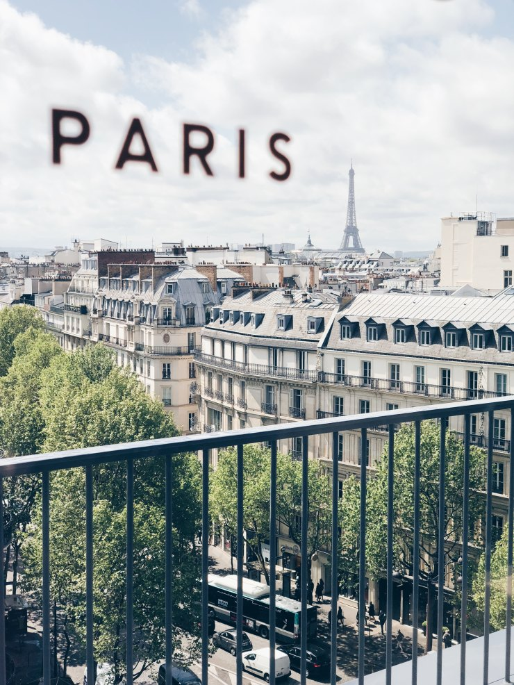 View of the Eiffel Tower in Parisian skyline