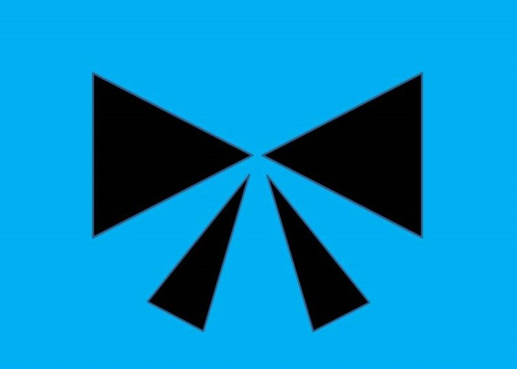 Abstract art - black bow in blue background