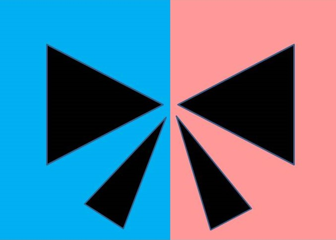 Black bow in symmetrical pink and blue background