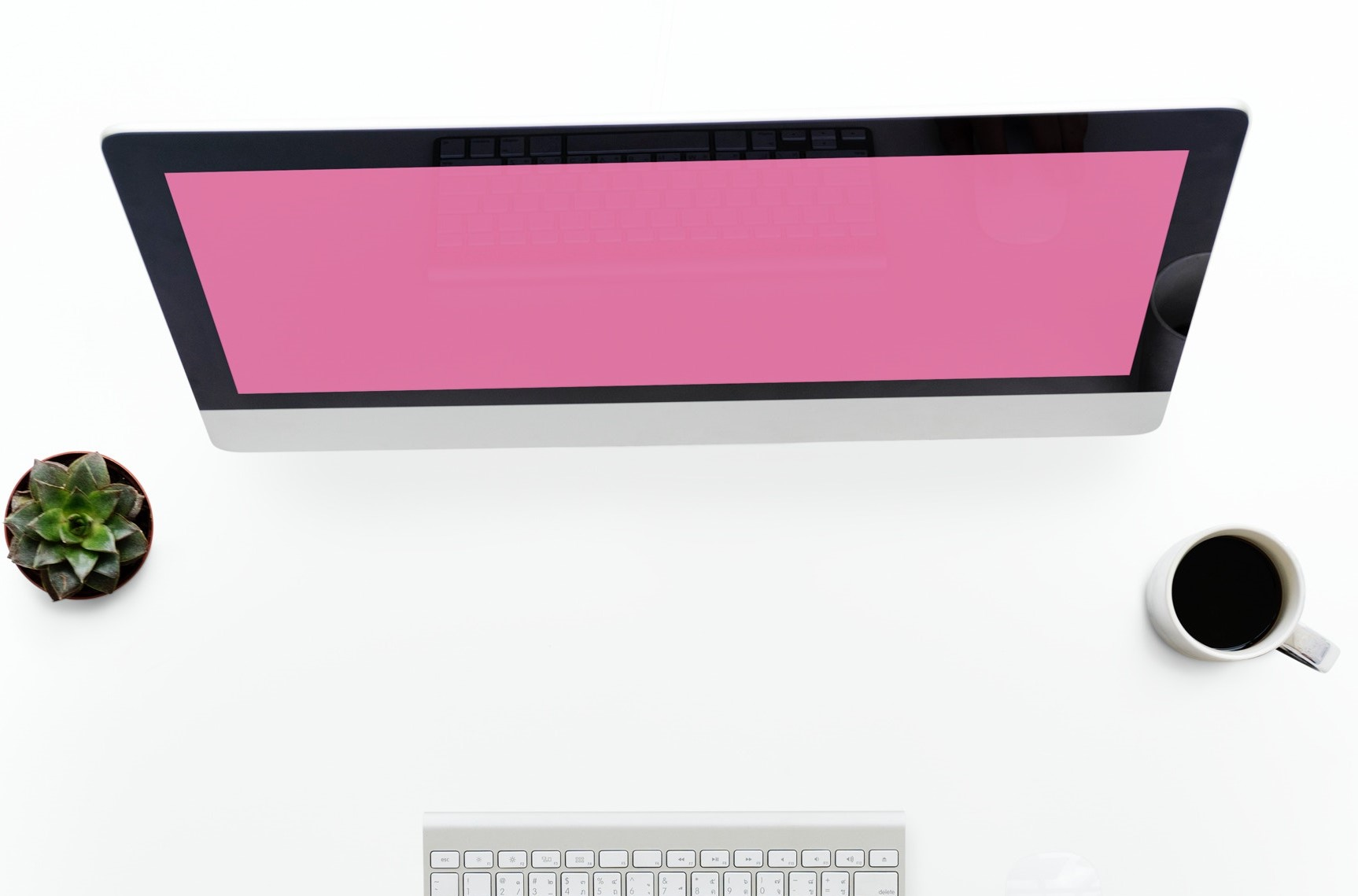 Pink screen and keyboard