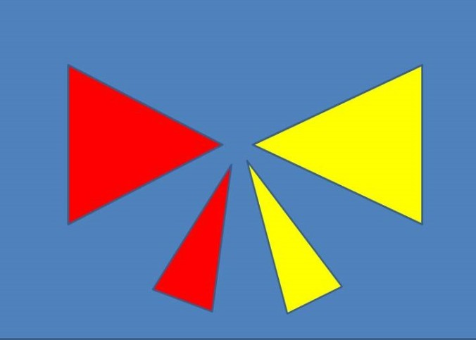 Symmetrical red and yellow bow in balanced design