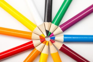 Coloured Pencils forming circle