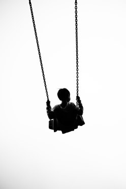 Child on a swing in the air