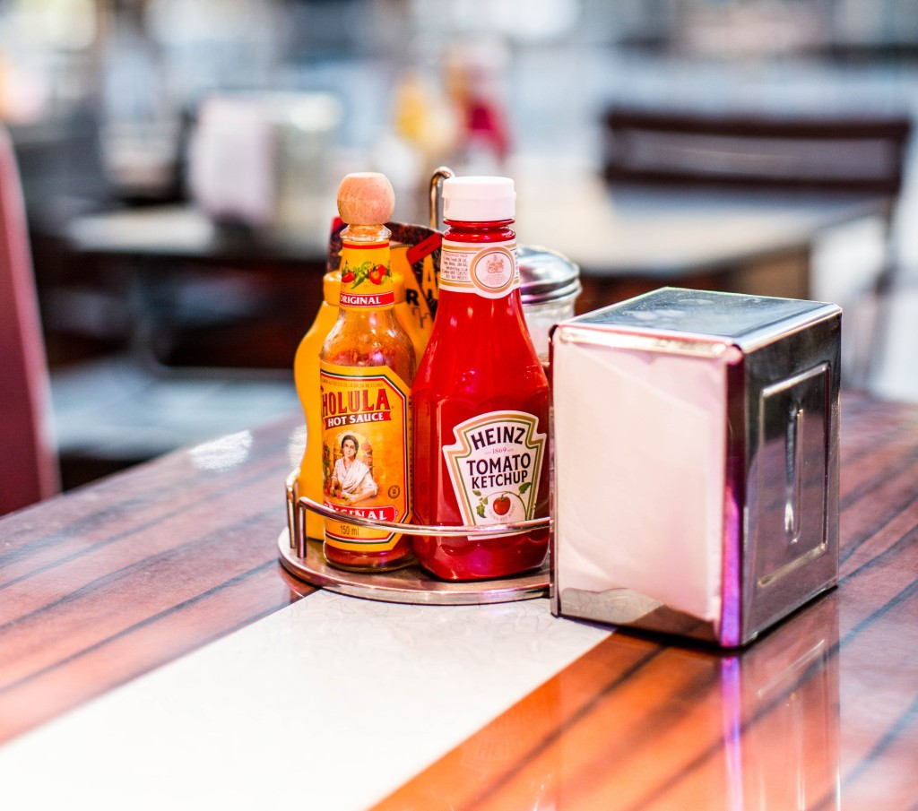 Heinz tomato ketchup bottle on the table